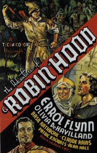 Movie poster from The Adventures of Robin Hood starring Errol Flynn