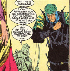 Rassan, the Nasir-like character in Mark Ryan's comic book. Art by Shea Anton Pensa. (C) DC Comics, 1991