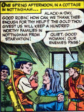 Robin Hood gives to the poor in The Menace of the Royal Assassins in Robin Hood Tales #5, Quality Comics, 1956. Art by Matt Baker and Chuck Cuidera.